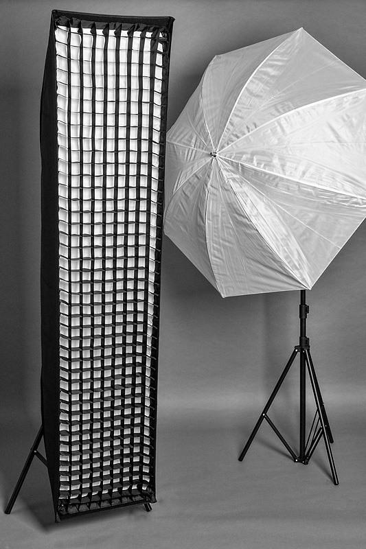 Lichtformer: Striplight und Schirm