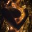 Junge Frau liegt seitlich nackt auf einer Goldfolie und hat eine Lichterkette um sich geschlungen.