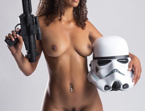 Stormtrooper with gun and helmet