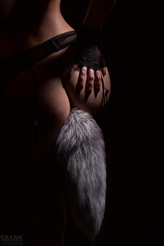 Fuchsschwanz - Neben einem Fuchsschwanz-Plug (fox tail plug) im Hintern trägt Sie Strapsgürtel und Netzhandschuhe.